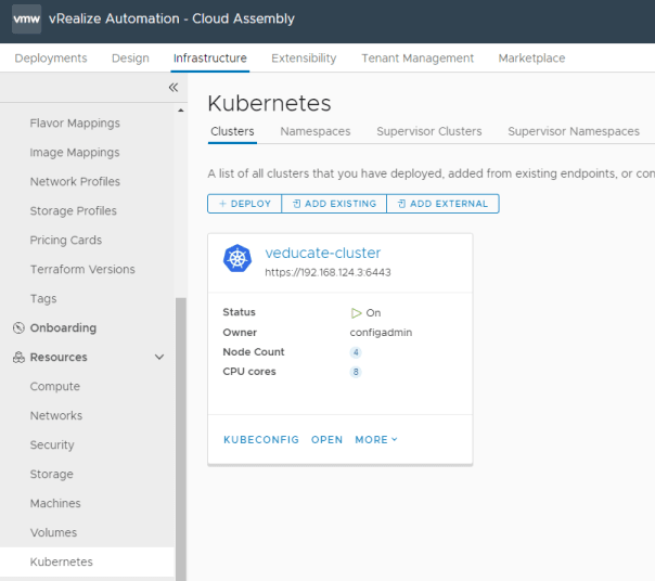 Cloud Assembly - Kubernetes Endpoint