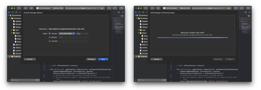 Screenshot shows an Xcode screen selecting a dependency version and an Xcode screen downloading that dependency