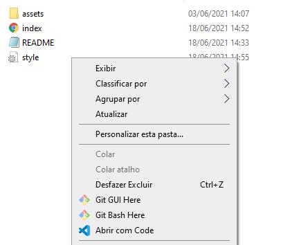 """Recorte de uma parte da pasta de arquivos do projeto com a janela do botão direito aberta com as opções e o principal """"Git Bash here"""" sinalizado"""