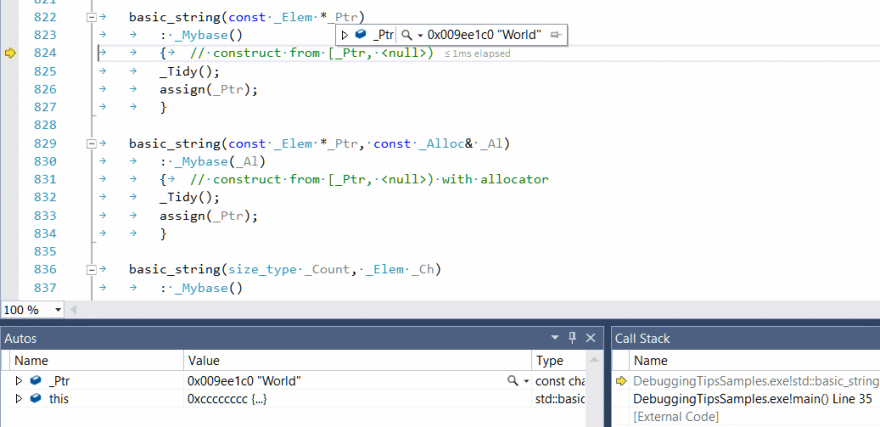 Stepping into unwanted function, Visual Studio