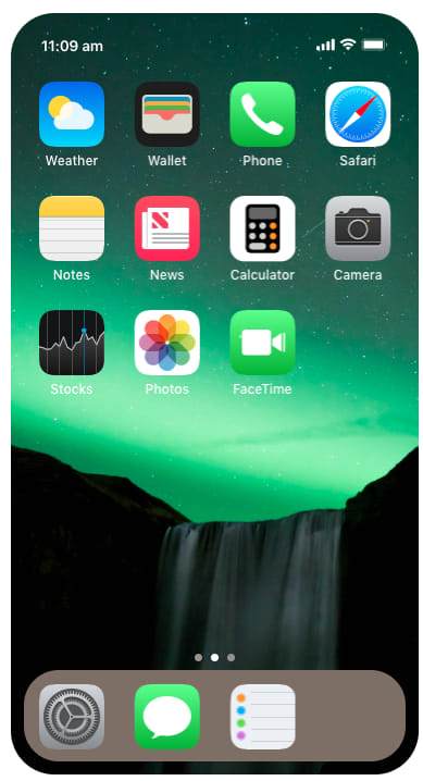 iOS home screen rendered on the web using react
