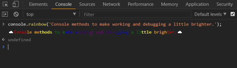 screenshot of a console log that is colored like a rainbow