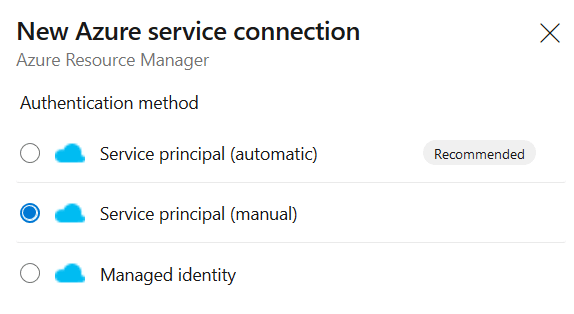 Select the authentication method