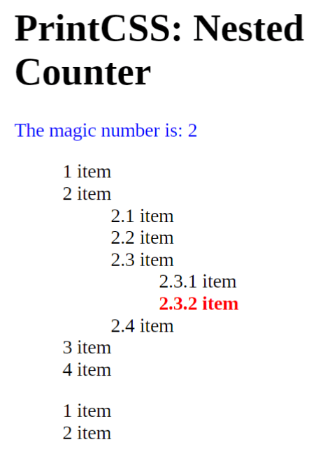 Target-counter on the nested counters, we should get 2.3.2 but we get 2
