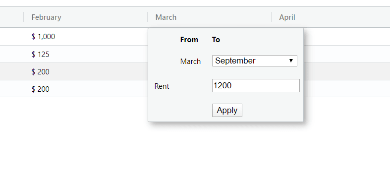 Input popup cell editor