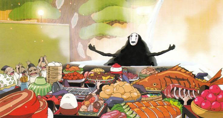 Scene from animated film Spirited Away, depicting the character No Face with so much food on the table
