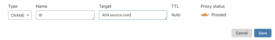 Create DNS record for source domain