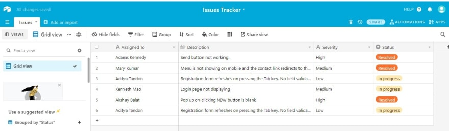 Issue Tracker Airtable Database