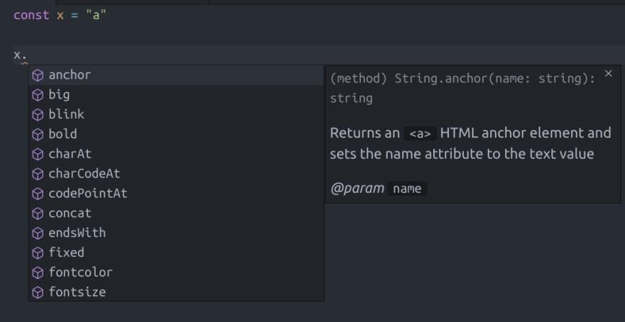 string intellisense example