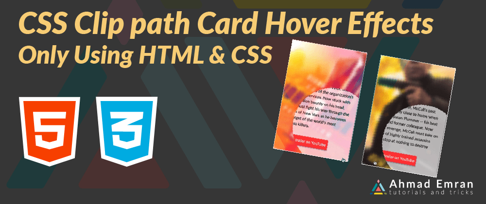 Cover image for CSS Clip path Card Hover Effects | Only Using HTML & CSS
