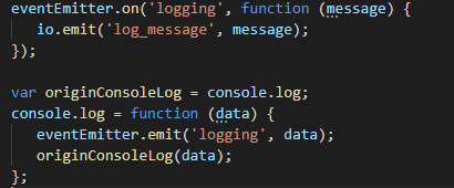 Logic for display Logs in Index.ts