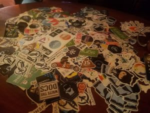 More technology stickers spread on a table