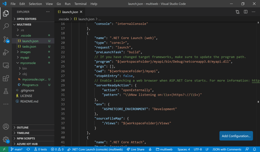 Web API Launch Config