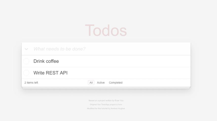 Initial screenshot of the todo app