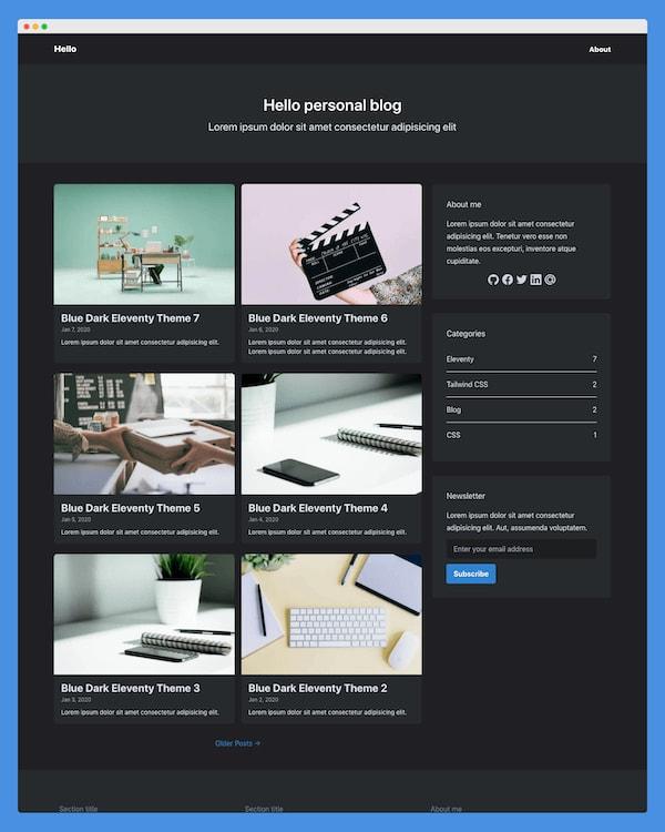 Blue Dark Eleventy Theme premium