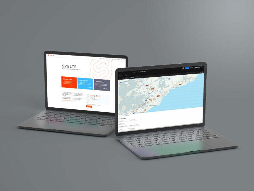 Two laptops displaying the Svelte UI and a TomTom map