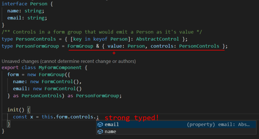 Screenshot demonstrating `controls` FormGroup property being strong typed.