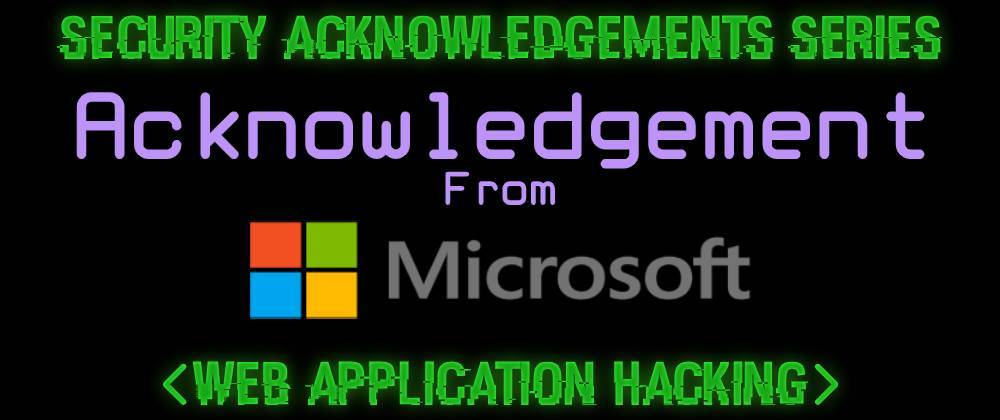 Cover image for Acknowledgement From Microsoft