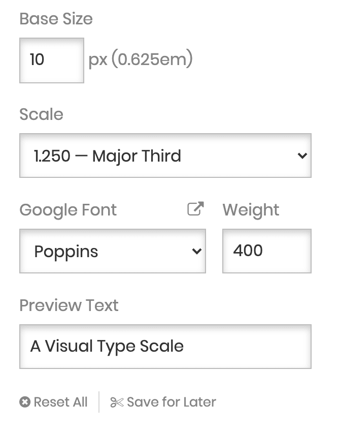 Screenshot from Type Scale
