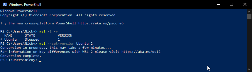 Converting a distro from WSL1 to WSL2