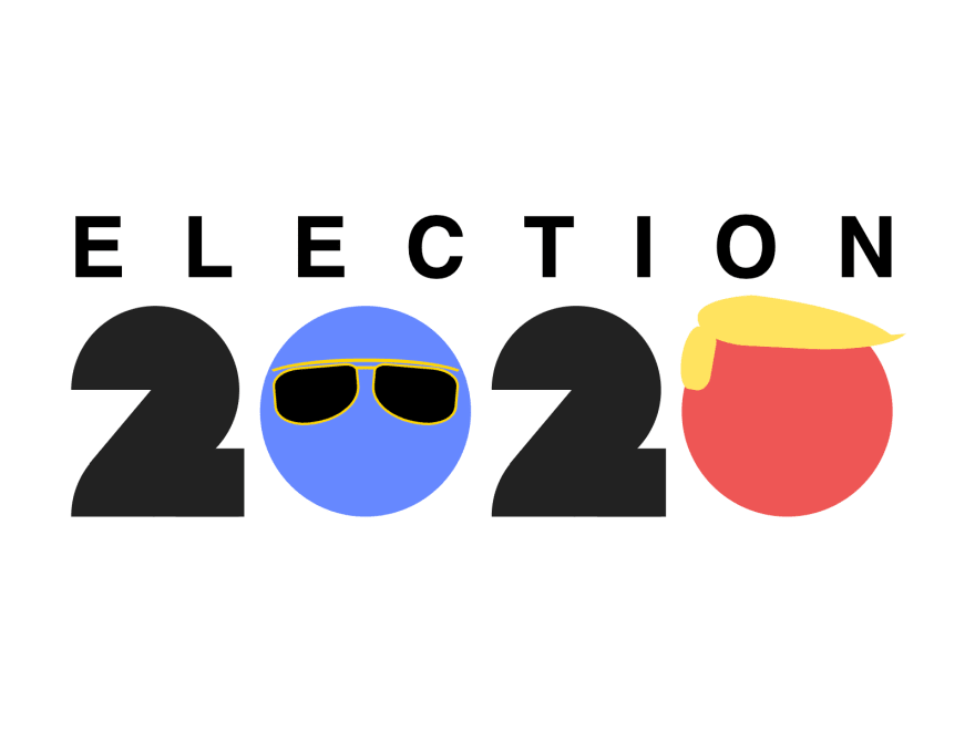 "Poster with the words ""Election 2020"". The first zero is blue with sunglasses on top. The second zero is red with a yellow hair toupe"