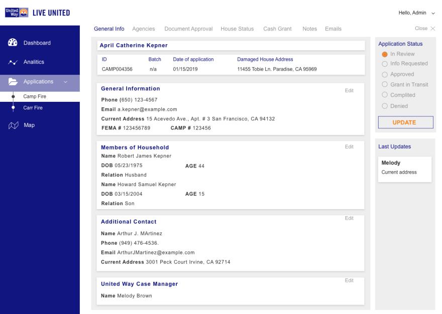 Single Application Page