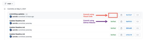github commit view - verified