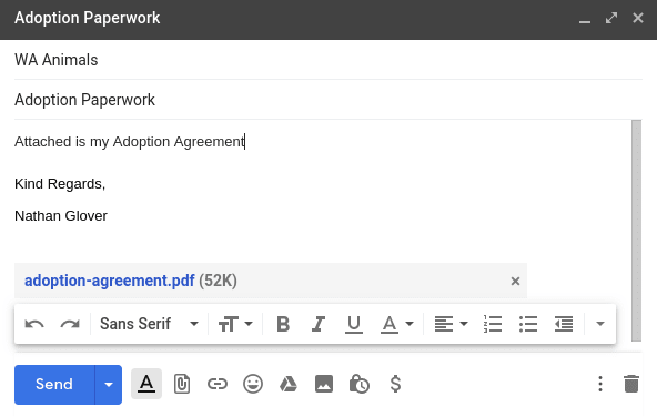 Email sending example