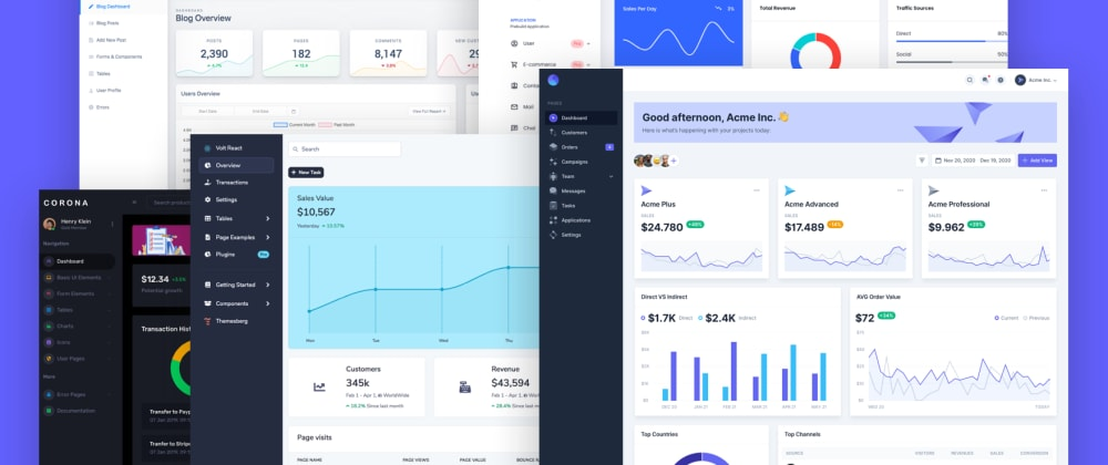 Cover image for 30 Free React dashboard templates and themes