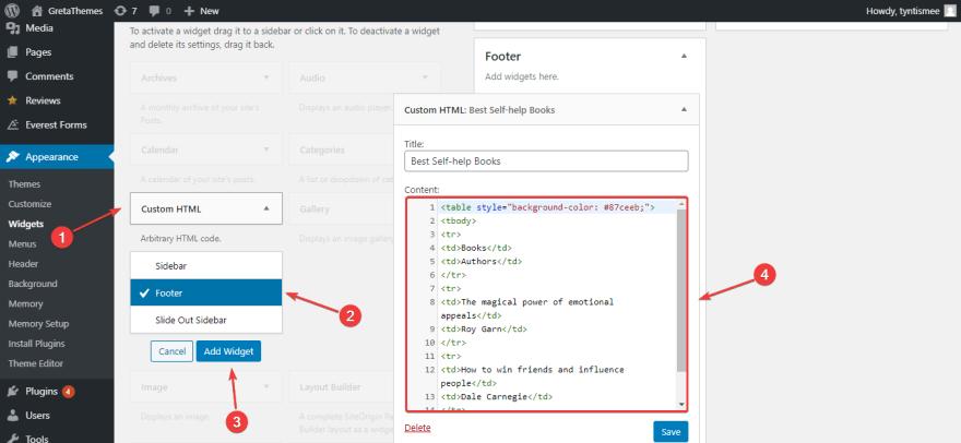 Add code the the Custom HTML widget