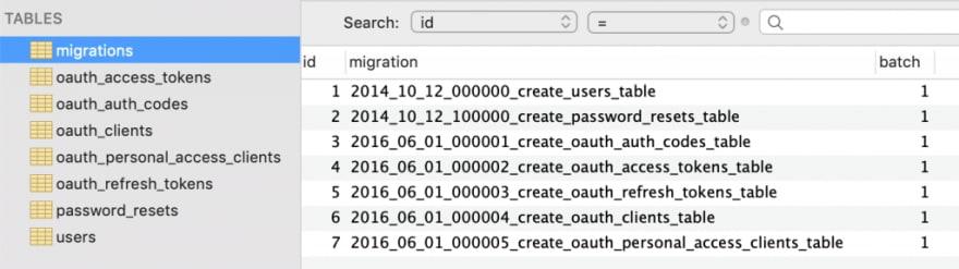 laravel-auth-database