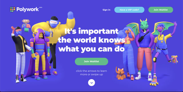 """Screenshot of the hero image on polywork.com. It is purple and depicts 3D illustrations of fantastical characters including humans and dragons standing in a group. The text reads, """"It's important the world knows what you can do."""""""