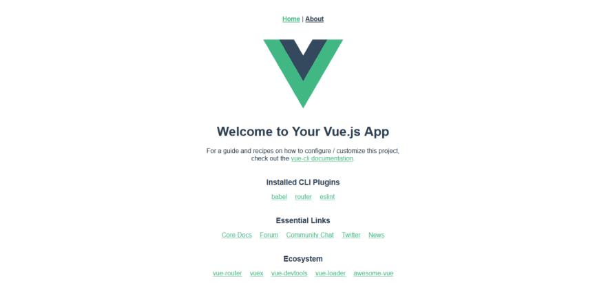 The default Vue application screen.