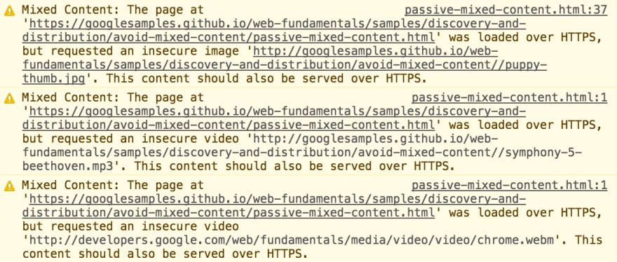 Mixed content screenshot from chrome console
