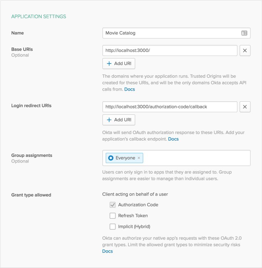 New Application Settings