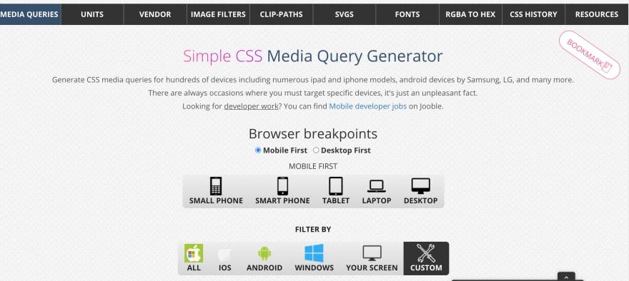 Simple CSS Media Query Generator