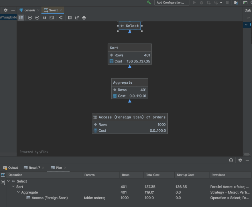 get the visualization for our last query by selecting Explain Plan > Show Visualization IntelliJ and YugabyteDB tutorial