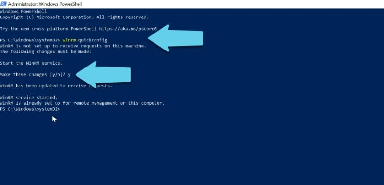 just configured the winrm service to run automatically and enabled remote management rules