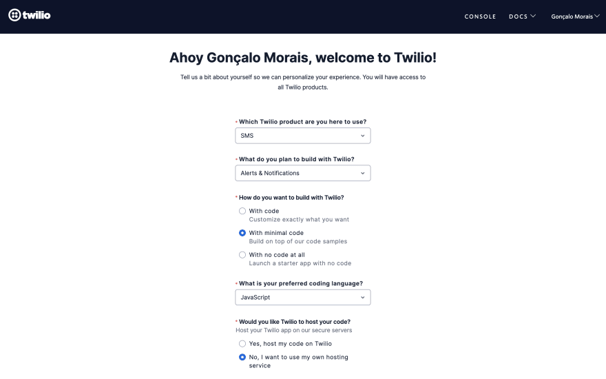 Answers to Twilio welcome screen