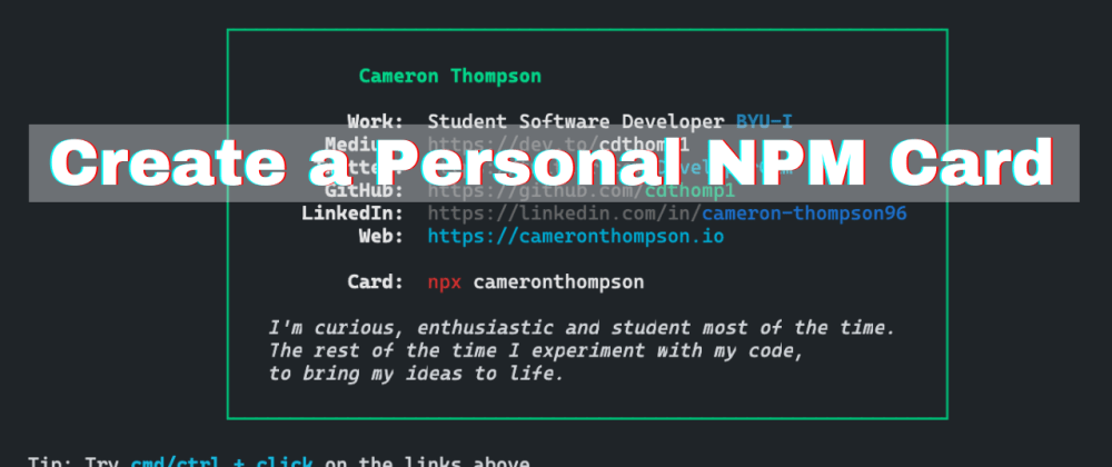 Cover image for Create your own NPM Card! Part 2