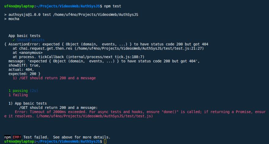 Error 404 in test