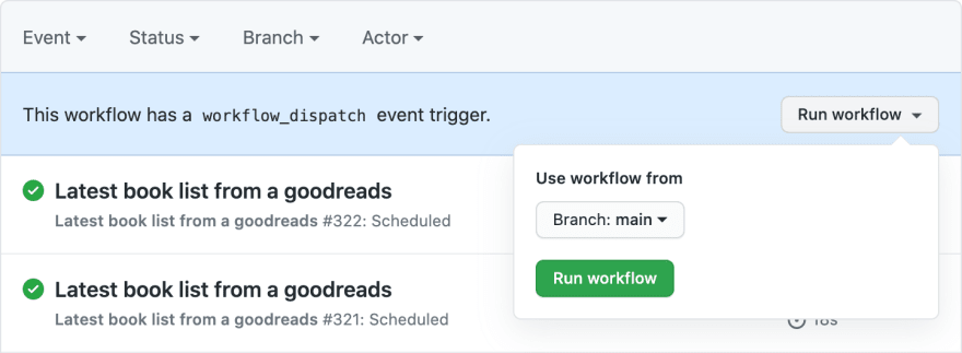 manually trigger workflow for GitHub Actions