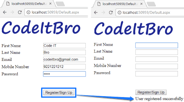 how to create a simple registration form in asp net using c and sql