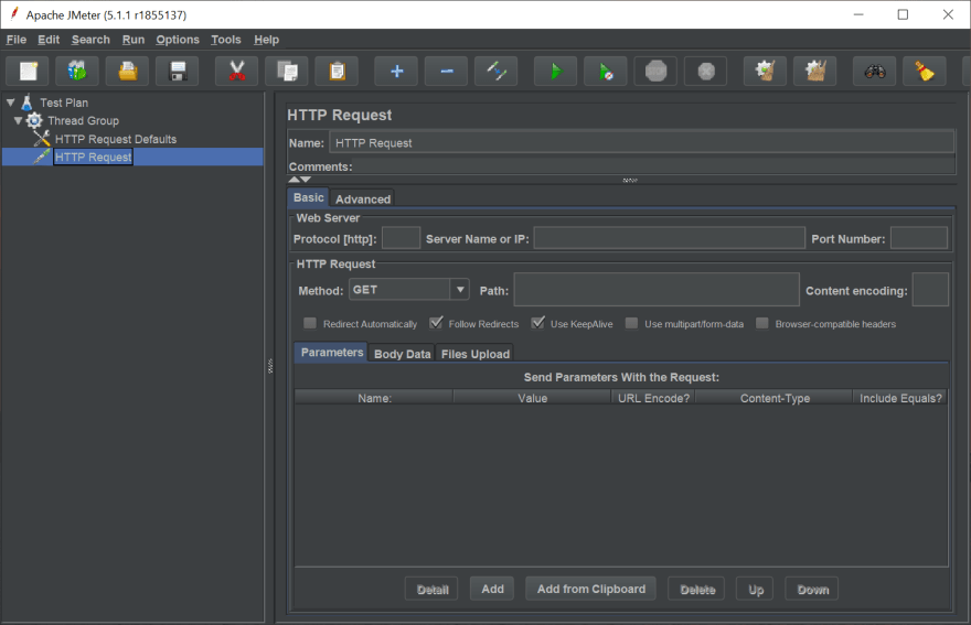 Add HTTP Request in Apache JMeter