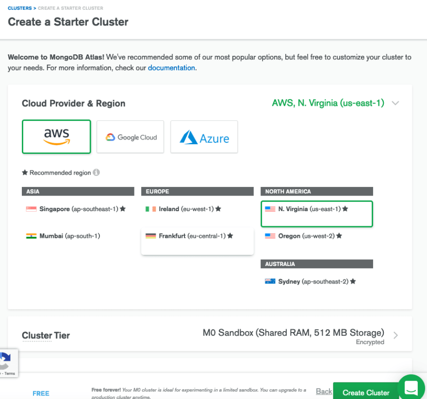 Selecting default options for the cluster