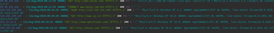 NGINX access log with ccze
