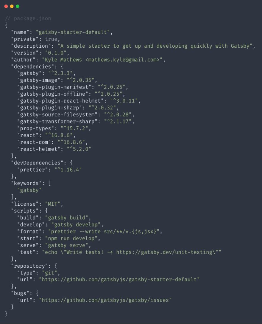 Default package.json file