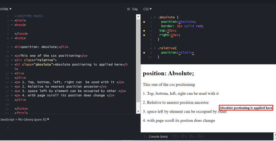 CSS Absolute Property Demonstration