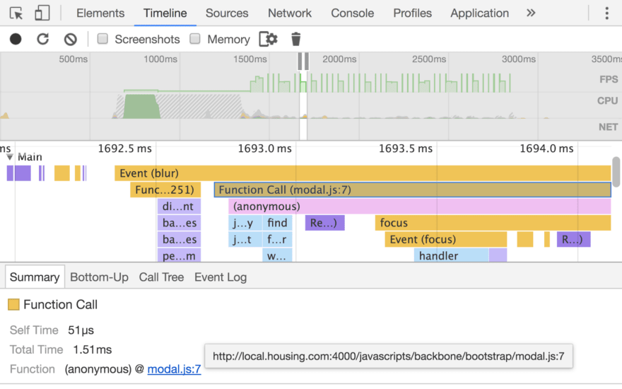Chrome DevTools Timeline Panel Screenshot