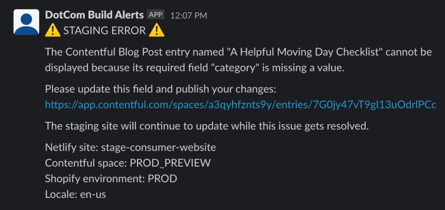 Another message posted to Slack by 'DotCom Build Alerts' explaining that a specific 'Reviews' entry cannot be shown because one of its required fields is empty, this time including a link to the broken entry.